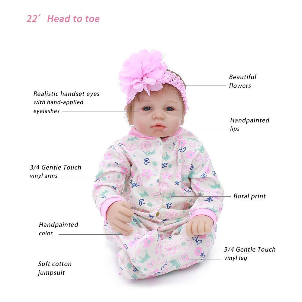 New 55cm Lifelike Reborn Baby Vinylsilicone Doll With Cartoon Animal Print Clothes Dolls Toys & Hobbies