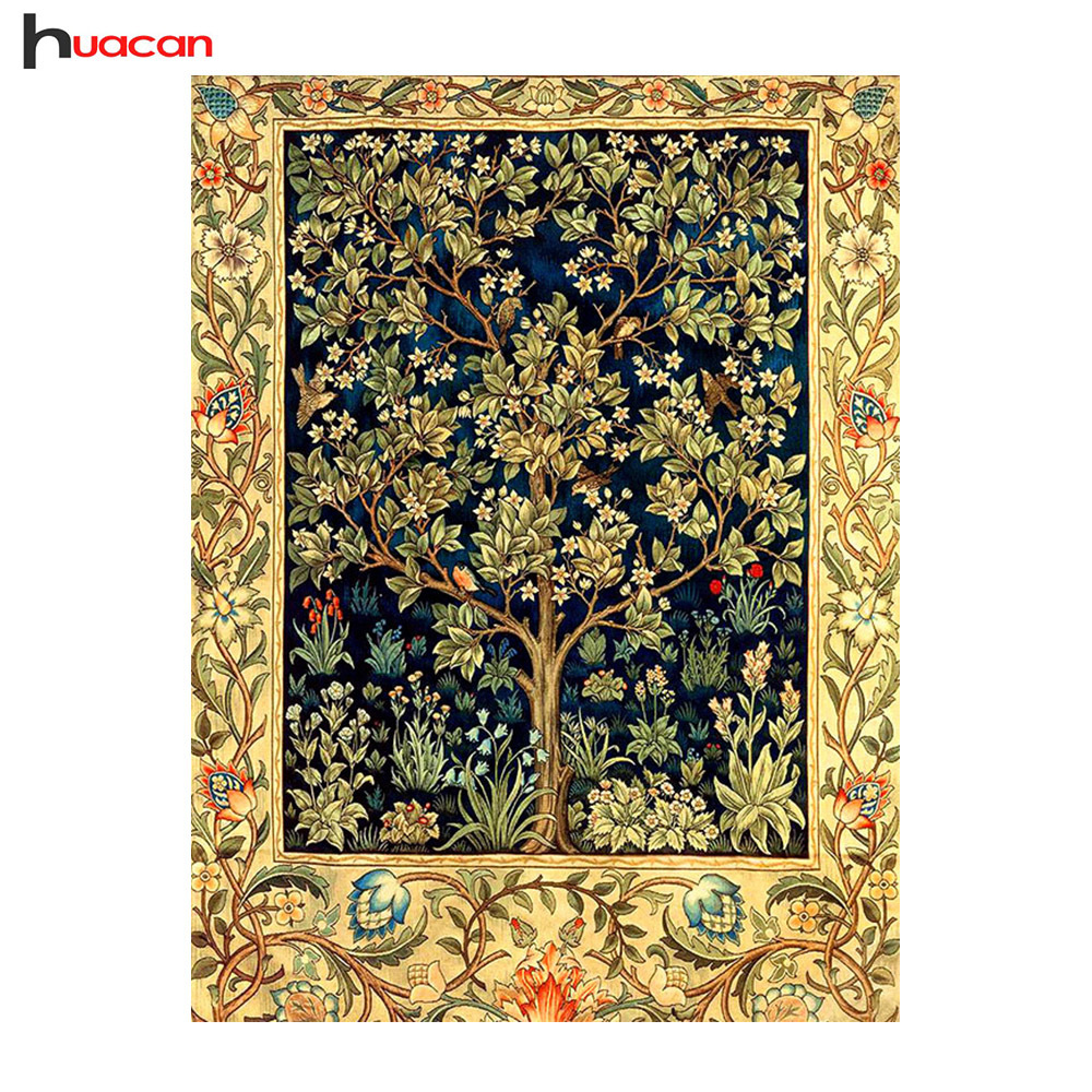 Huacan Diamond Painting Embroidery Money-Tree Full-Square Rhinestone-Decoration Cross-Stitch