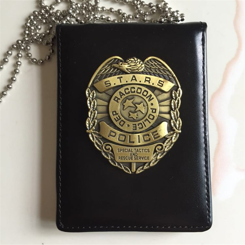 New Cosplay Stars RACCOON Police Dep Metal Badge Leather Case Holder ID Cards Driving Wallets Holder Case With Bead Chains