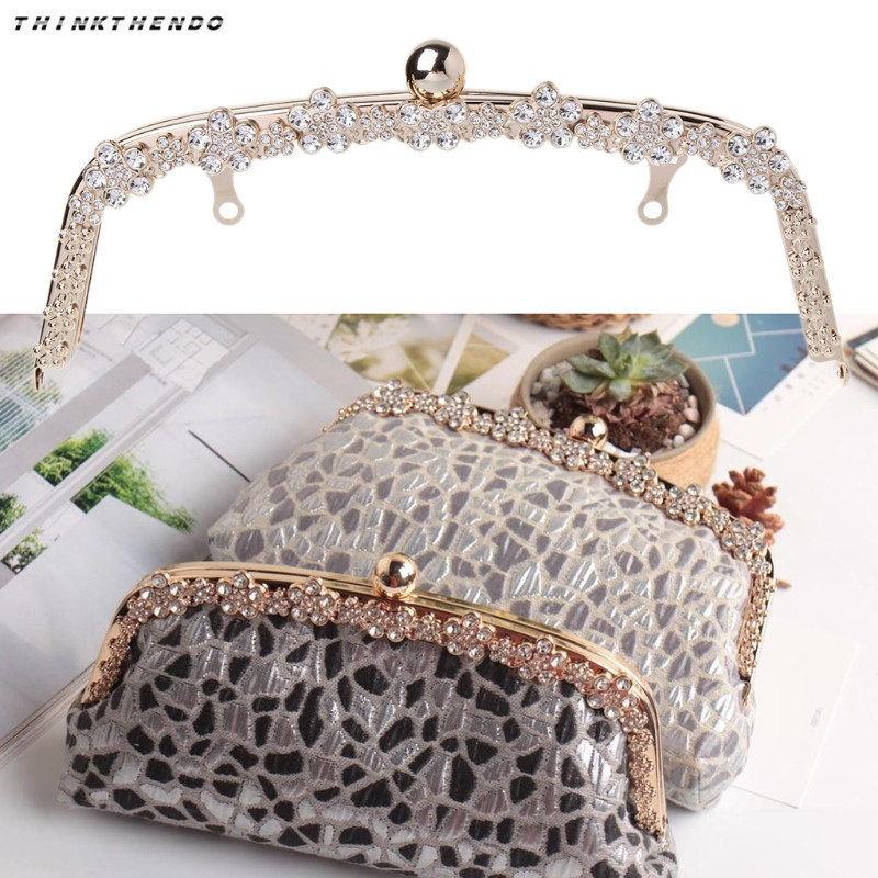 THINKTHENDO Fashion Metal Rhinestone Purse Handle Bag DIY Craft Frame Kiss Clasp Lock 22cm New High Quality Bag Accessories