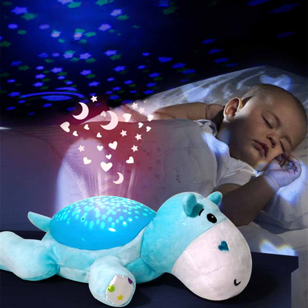 Luminous Toys Cute Design Small Hippo Sleep Instrument Soothing Voice Control Induction Sound And Light Projector Baby Sleepy