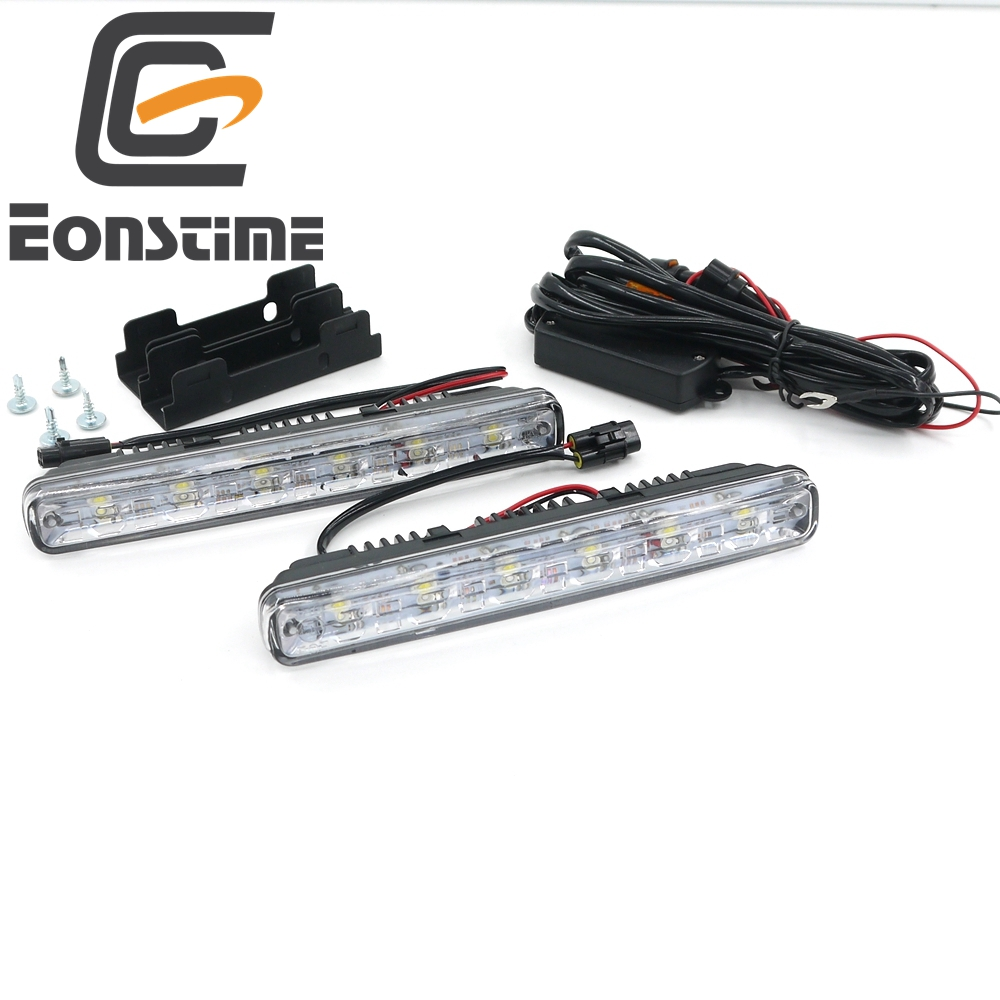 Eonstime 12V/24V 2pcs DC White 6LED DRL Car Light LED Daytime Running 6W Switch Waterproof Car Driving Fog Light Off function E4