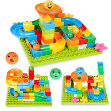 84PCS Blocks Marble Runs Bricks Balls With 1PC Base Plate 16X16Dots Toy For Children Above 3 Years Old Compatible Duploed(China)