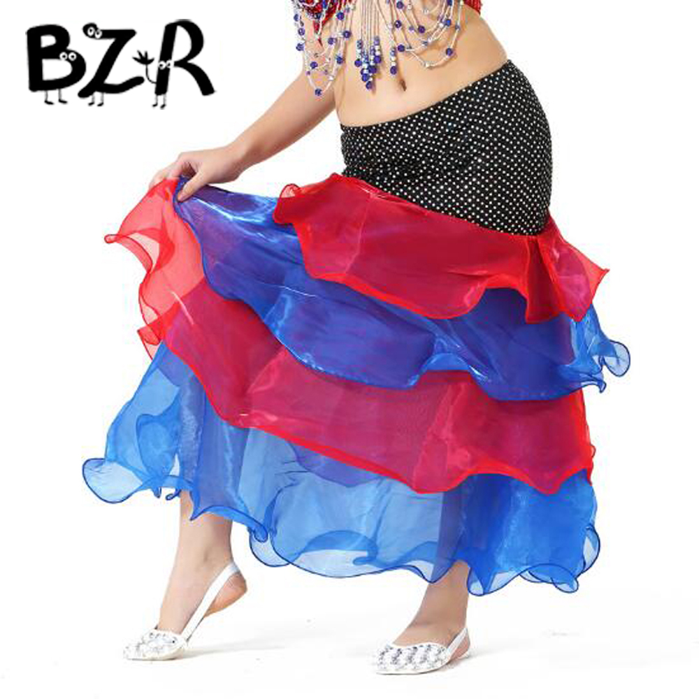 BAZZERY 7 Colors Primary School Girls Belly Dance Skirts Deluxe Girls 4 Layers Mix Color Long Skirt Tight Hip Style Dress