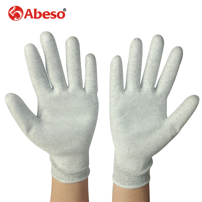 ABESO 2/10 pairs Carbon Conductive fibre & PU Palm electronic Anti-static Gloves With PU AntiStatic Work Glove A4002 carbon fiber antistatic brush remove static electricity 1460x1400mm