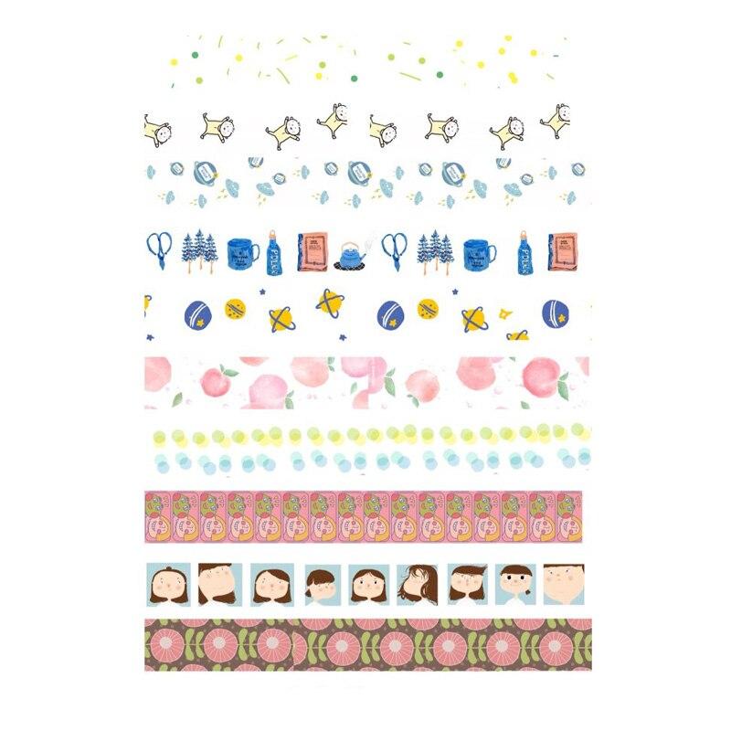 2 Piezas Kawaii Limpio Washi Cinta Diy Decoración Scrapbooking Cuaderno Papelería Pegatinas Sin Cortar Arte Papel Planificador Diario Pegatina Tecnicas Modernas