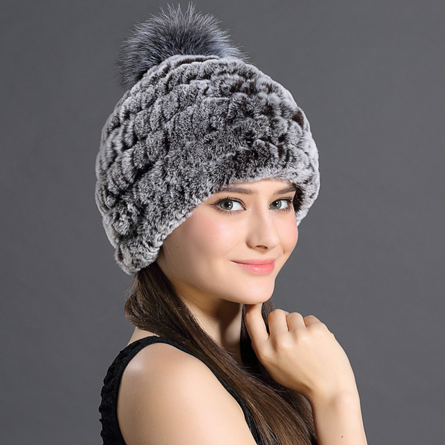 Hats For Women Genuine Rex Rabbit Fur Beanies For Women Winter Thick Warm Knitted Cap With Ball Female Customized Fur Beanies