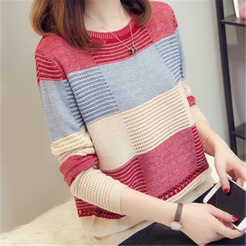 Pullover Knitwear Autumn Sweater Matching Loose Korean-Color Striped Long-Sleeved New