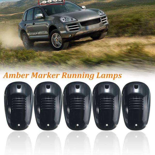 5 pcs Âmbar 9 LED Cab Roof Top Marcador Luzes Correndo Para caminhão Preto Smoked Lens Lâmpadas LED Âmbar Luz Offroad Truck SUV 4x4