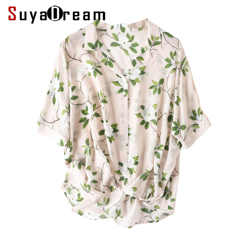 Women Blouse 100 REAL SILK Crepe Floral Print Blouse Shirt Half Sleeved Office Lady Blouses 2019