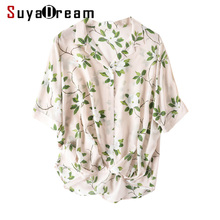 Women Blouse 100% REAL SILK Crepe Floral Print Blouse