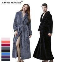 CAVME 2019 Plus Size Winter Flannel Robes Thicken Long Bathrobe for Lovers Kimono Men's Robe Sleepwear Night Dressing Gown