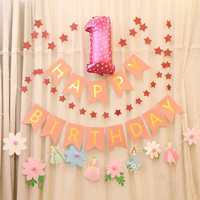 DIY Girl First Birthday Idea 1st 2nd 3rd 4th 5th Year Old Birthday Party Anniversary Backdrops