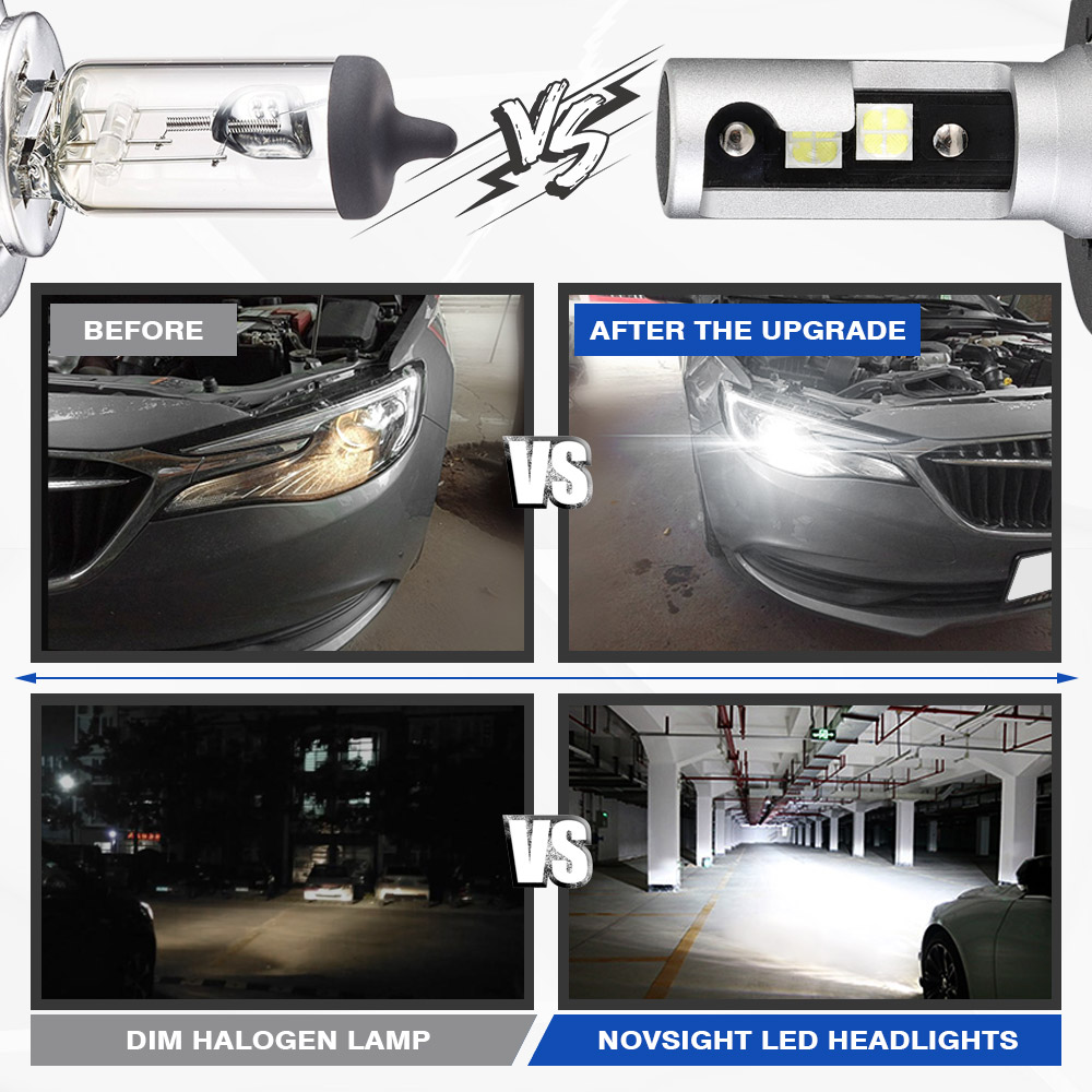 Image 3 - NOVSIGHT 2PCS 60W 18000LM H4 H7 H11 H8 HB4 H1 H3 HB3 9005 9006 9007 H13 Car LED Headlight Bulbs 6500K Cool White Car Lamps-in Car Headlight Bulbs(LED) from Automobiles & Motorcycles