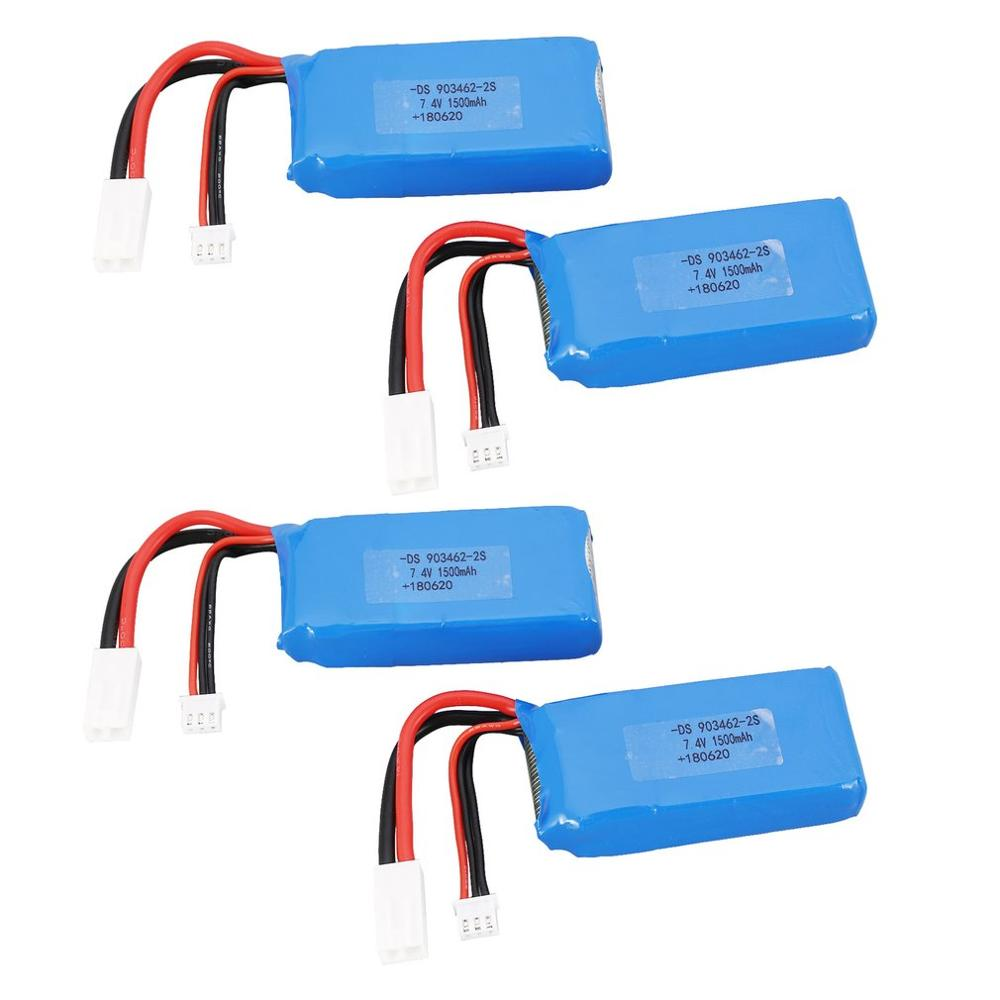 4PCS 7.4V 1500mAh 25C <font><b>2S</b></font> Lipo <font><b>Battery</b></font> with JST-XH balance plug with Small Tamiya Plug Rechargeable For Feilun FT009 RC Boat Spee image