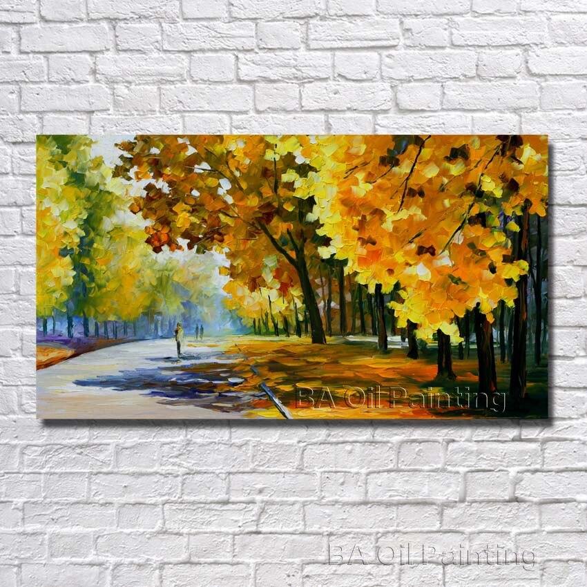 ჱTamaño grande pintado a mano lienzo pinturas al óleo árbol hermoso ...