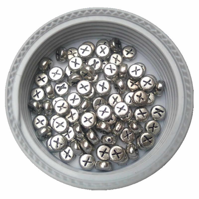 4*7 MM plat rond pièce argent lettre X perles bijoux à bricoler soi-même accessoire Alphabet intérieur acrylique Bracelet perle en gros 3600 pièces