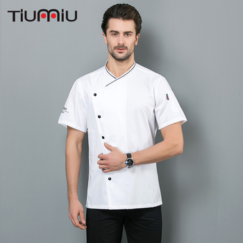 Fashion Chef Shirts Summer Breathable Short Sleeves Chef Jackets Bakery Hotel Food Service Restaurant Top Chef Work Clothes фото