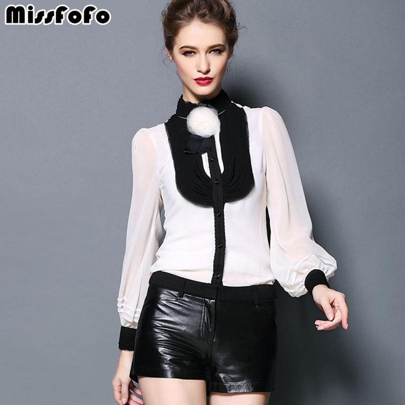 MissFoFo Brand 2019 Body Shirt Vintage Female One Piece Blouse Black White Solid Silk Lantern Ruffle