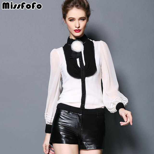634f6e5ffb MissFoFo Brand 2019 Body Shirt Vintage Female One Piece Blouse Black White  Solid Silk Lantern Ruffle
