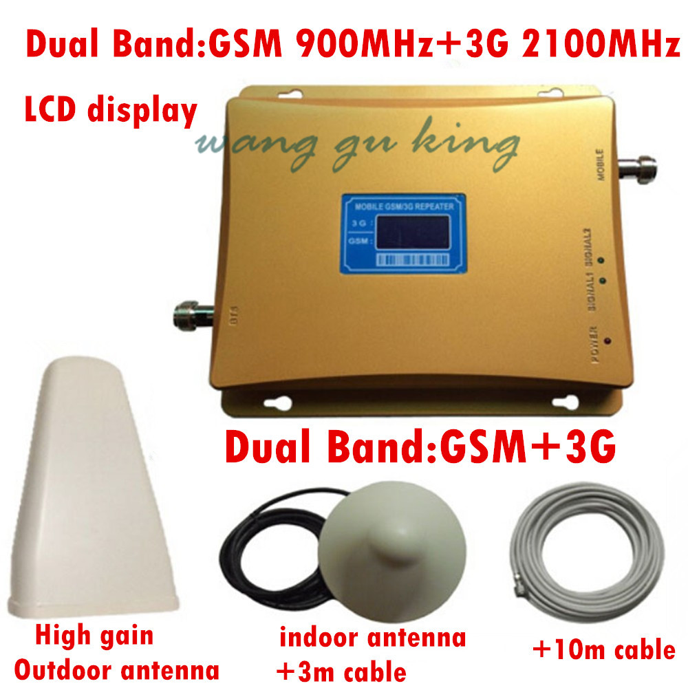 LCD Display Dual Band Repeater For Signal Repeater Amplifier, GSM 900mhz Repeater 3g Booster , 3g 2100mhz Signal Amplifier