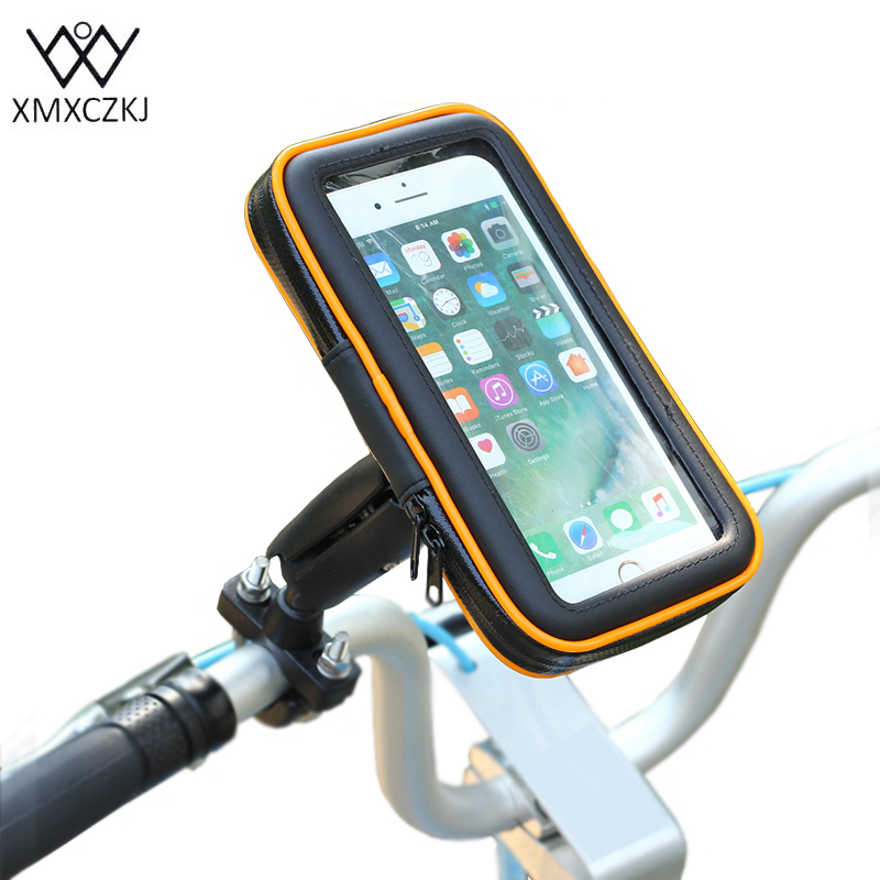 XMXCZKJ Bicycle Smartphone Holder Waterproof Bag 360 Rotating Phone Holder For Iphone Samsung Huawei GPS Smartphone Accessories pochette étanche pour téléphone