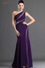 紫色のイブニングドレスマーメイドワンショルダーシフォンビーズプラスサイズロングイブニングドレスウエディングドレスローブ · ド · 夜会