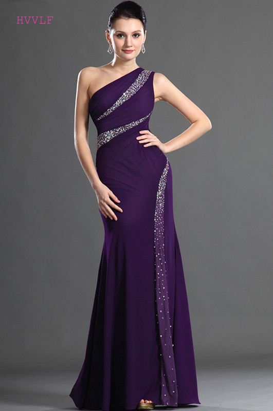 Purple   Evening     Dresses   2019 Mermaid One-shoulder Chiffon Beaded Plus Size Long   Evening   Gown Prom   Dresses   Robe De Soiree