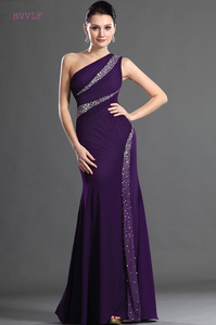 Image 1 - Roxo vestidos de noite sereia de um ombro chiffon frisado plus size longo vestido de noite vestidos de baile robe de soiree