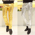 New Mens Skinny Faux PU Leather Pants Shiny Silver Gold Pants Trousers Nightclub fashion Stage Costumes for Singers Dancer Male
