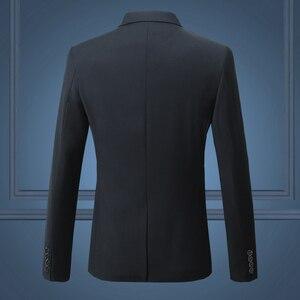 Image 2 - Black Classy Mens Blazer Jacket One Button Slim Wedding Suit Men Solid M 3XL Mens Casual Blazers White Customizable Big Size