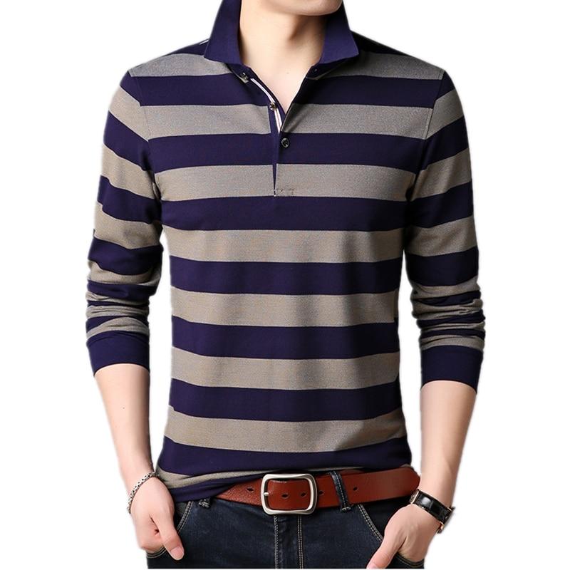 minorista online 75d91 8a782 Camisa Polo estampada de rayas Para jóvenes marca de Hombre Polos de manga  larga Para Hombre cuello vuelto Casual Silm Fit Camisa polo Masculina