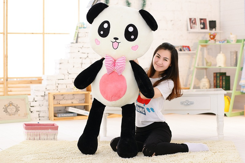 stuffed plush toy large 120cm gaint panda plush toy with bowtie soft doll throw pillow christmas gift b1476 stuffed animal 120cm brown lying sleeping dog plush toy soft throw pillow w2302