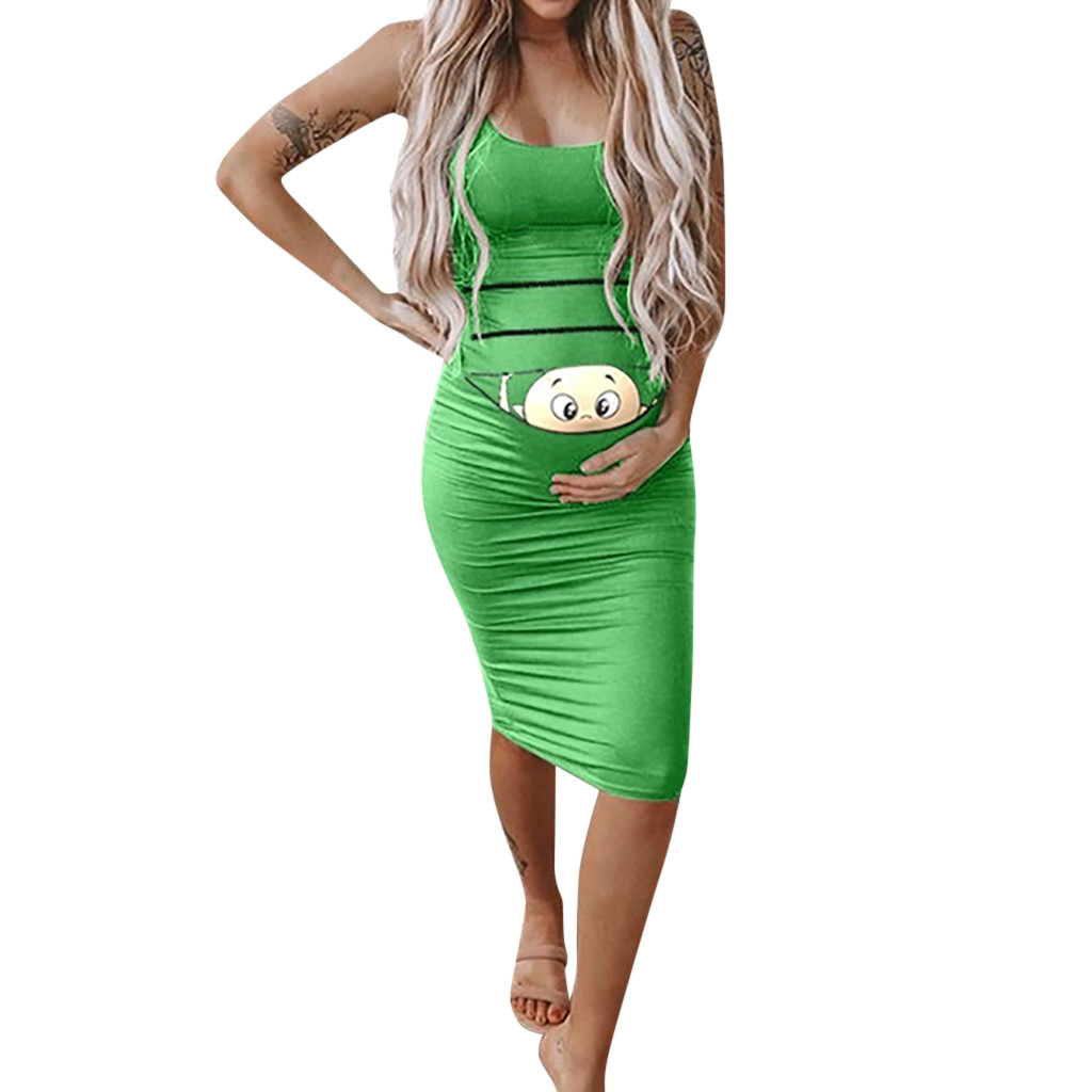 2019 Summer New Funny Print Dress Women's Fashion Cute Baby Printed Pregnant Summer Sleeveless Maternity Dress Elbise