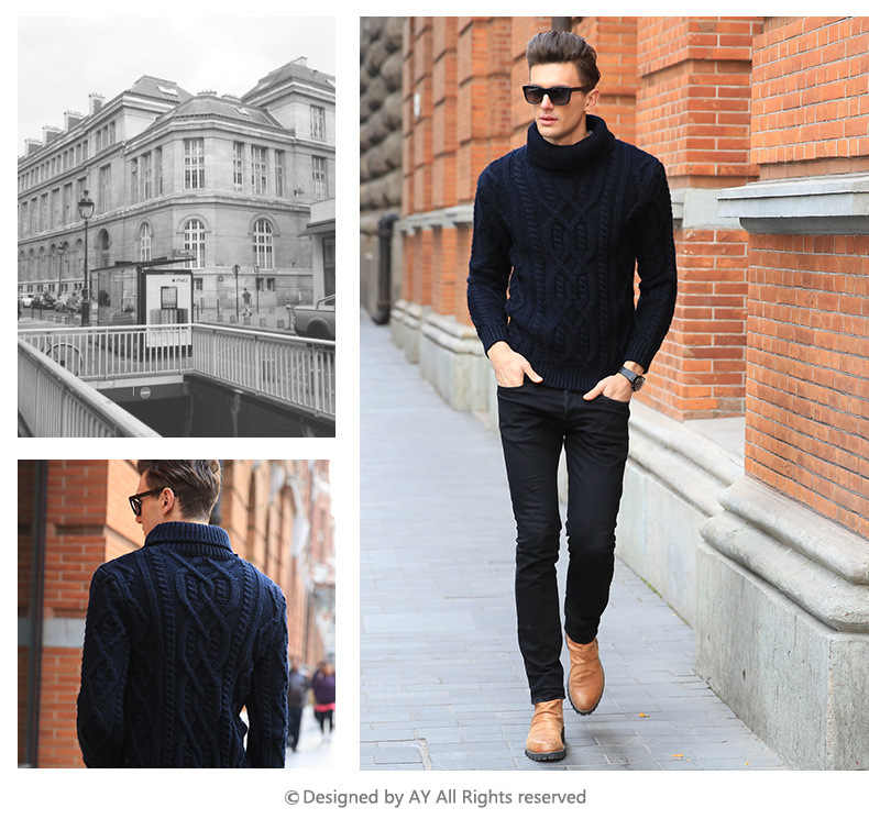 2019 New Fashion Male Turtleneck Sweater Thickening Slim