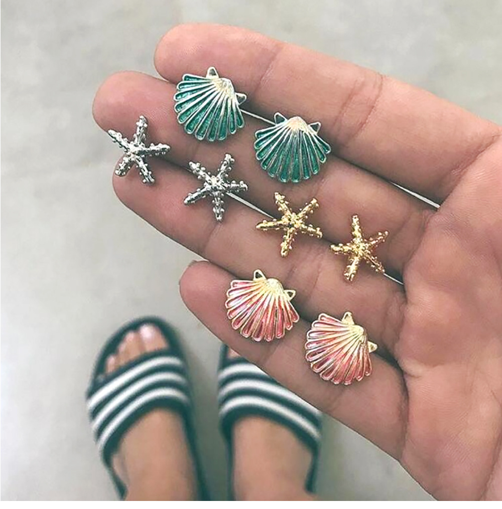 Unique  4 Pairs/Set Sea Starfish Shell Colorful Stud Earring Hawaii Women Bohemian Summer Beach Boucle D'oreille Jewelry Brincos