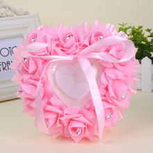 6 Colors Wedding Heart-shape Flowers for Wedding Ring Box Pillow Valentine's Day Gift Ring Cushion Bridal Ceremony Wedding Decor heart shaped wedding ring pillow artificial rose flowers crystal fake pearls decor ring holder d1 decor
