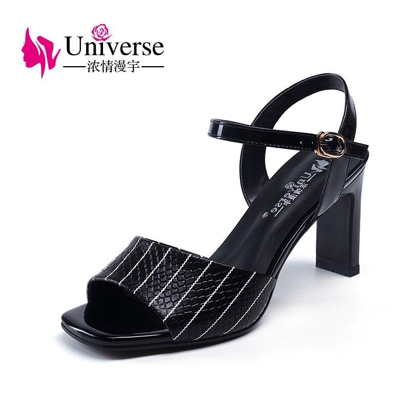 우주 특허 가죽 깅엄 샌들 버클 캐주얼 하이힐 숙녀 신발 캐주얼 여성 샌들 여름 샌들 h108-에서하이힐부터 신발 의  그룹 1