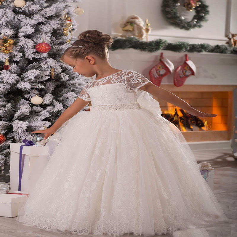 Princess Flower Girl Dress Lace Appliques Cap Sleeve Beading Belt Open V Back Floor Length Ruffle Mother Daughter Dress with Bow цены