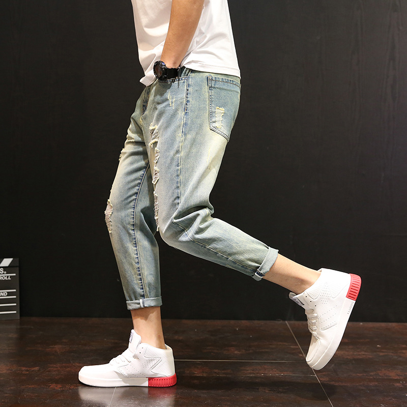 Brand Fashion Jeans Men 2018 Spring Summer New Jeans Male Slim Fit Zipper Casual Denim Trousers Collapse pants Hip hop