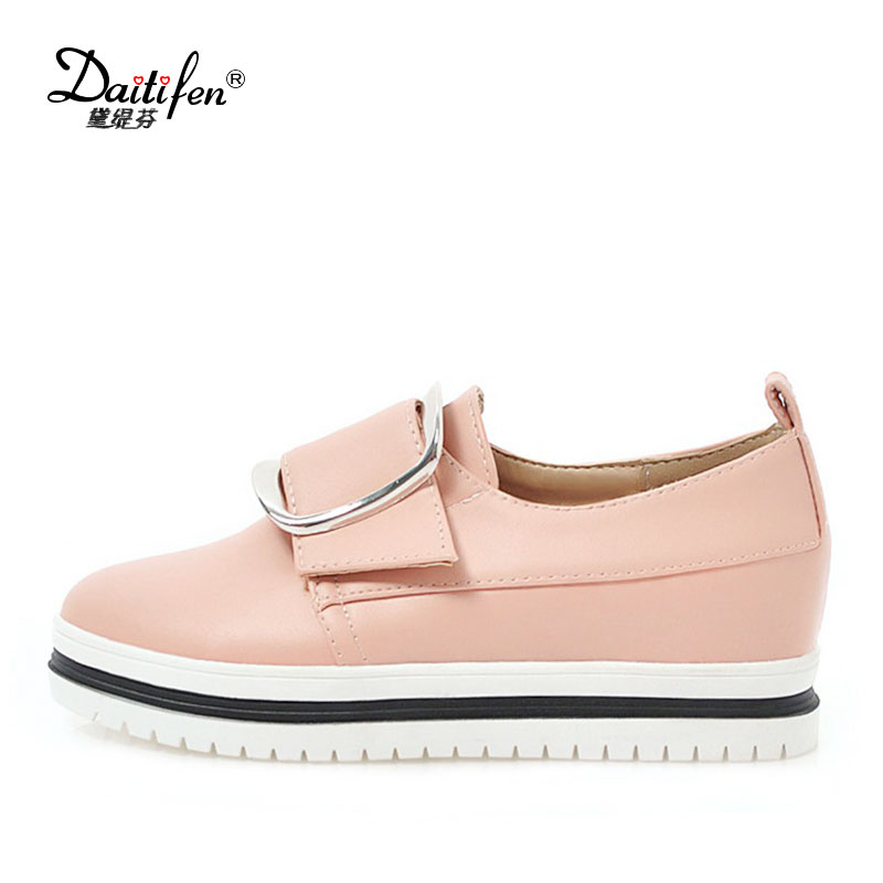 Daitifen Mixed Colors Platform Shoes Women Buckle Shoes Ladies Round Toe Creepers Shoes Soft Touch Vulcanized Shoes Size 34- 43