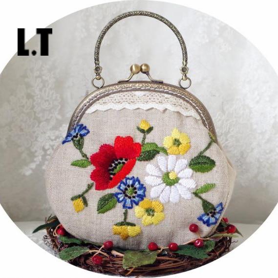Floral Bolso 2016 Chic Pequeño Yute Mujeres Arpillera Bordado Shabby CcrqHPC