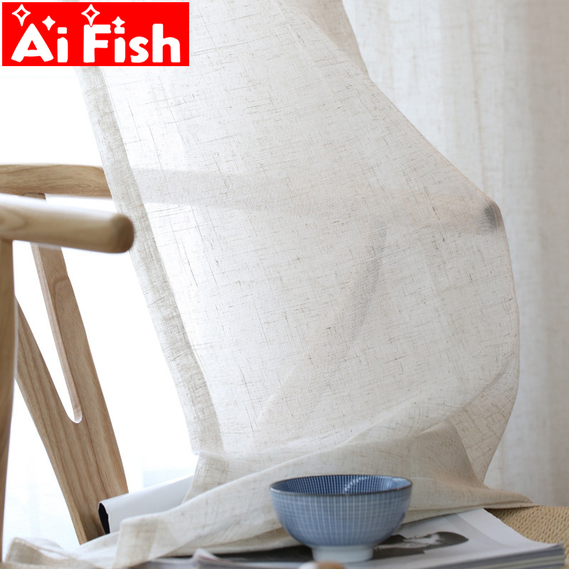 Home Textiles Window Screens American Nordic Simple Natural Hemp Curtain Fabric For Living Room Soft Feeling Panels  MY061-3