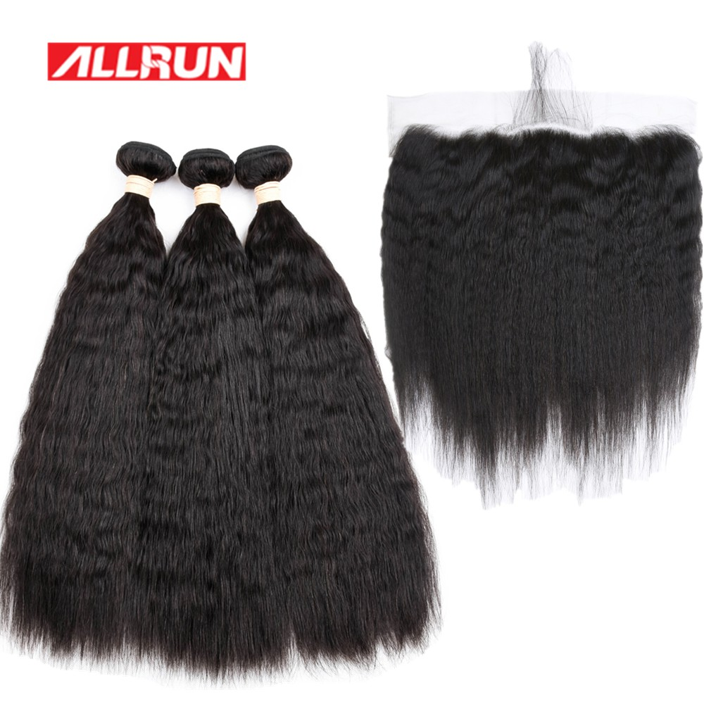 Allrun European 3 Bundles Kinky Straight With 13*4 Ear To Ear Lace Frontal 100% Human Hair Extensions Non Remy Hair Weave