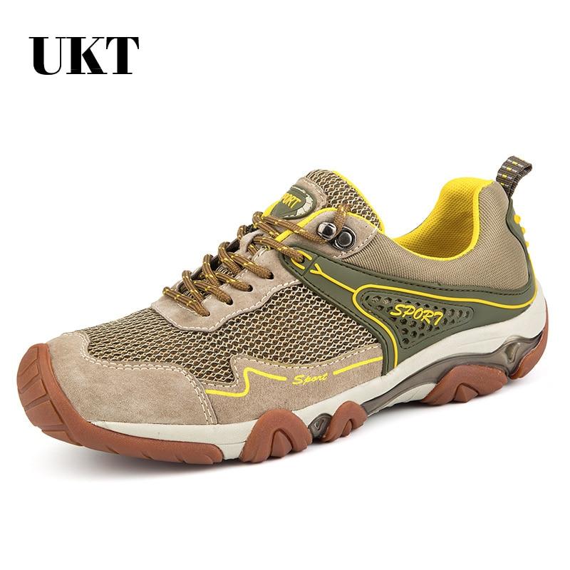 Hot koop wandelschoenen outdoor mannen ademend mesh zomer trekking sportschoenen scarpe uomo sportieve klimmen Lace-up mesh schoen