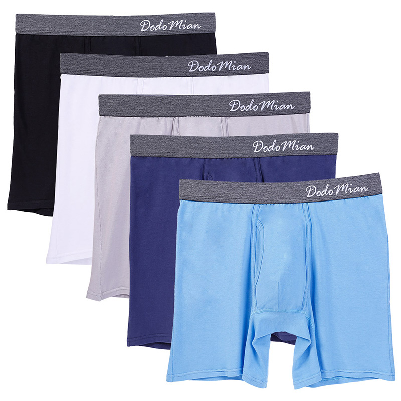 5 Pcs/Lot Men Long Boxer With Fly Cotton Mens Underwear Boxers U-convex Soft Men Boxershorts Male EU/US Size M L XL XXL