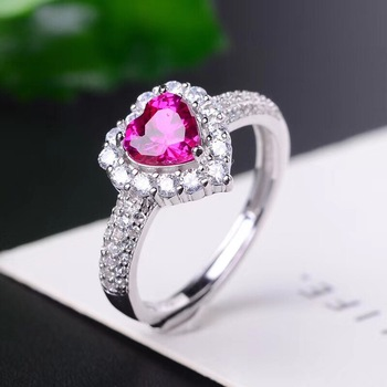 Natural Pink Topaz Rings for Women, Heart, 925 Sterling Silver Fine Jewelry, 5*5mm Gemstone with Velvet Box Certificate FJ260