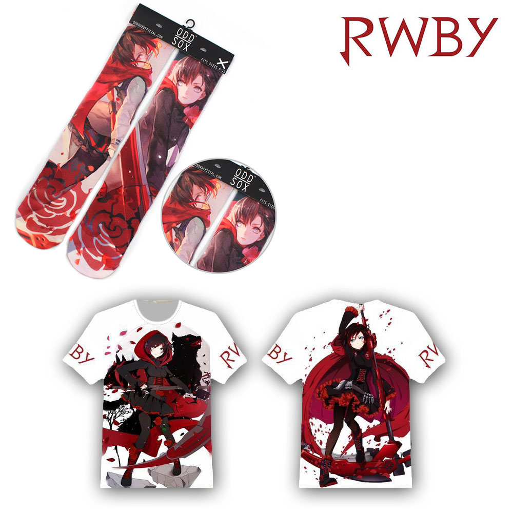 OHCOMICS 2PCS Hot Anime RWBY Ruby Rose Red Clothe Accessory Set T-shirt+Socks Tee Tops Stockings Hose Tight Costume Clothing Set