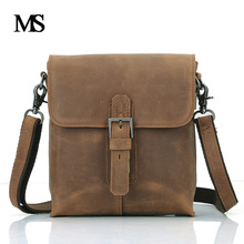 Cowhide Man Messenger Bags Genuine Leather Male Cross Body Bag Crazy Horse Leather Casual Men Commercial Briefcase Bag TW2005