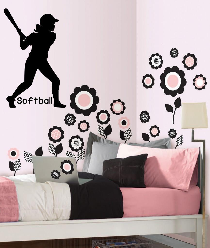softbol nias girls room cita de pared de vinilo sticker decal decoracin deportes jugadores x